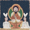 Reconstruction of the enthroned Jesus image on a Manichaean temple banner from ca. 10th-century Qocho (East Central Asia).