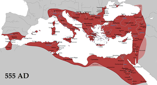 The boundaries of the Byzantine Empire under Justinian the Great