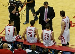 Kevin McHale, Jeremy Lin, Chandler Parsons, Francisco García, and Ömer Aşık during game 6 of the first round of the 2013 playoffs.