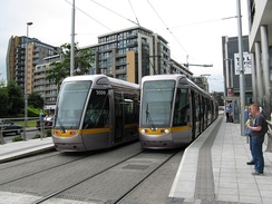 Luas trams at the Tallaght terminus.
