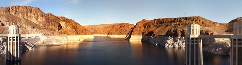 Lake Mead as seen from the Hoover Dam with the white band clearly showing the high water level on December 22, 2012.