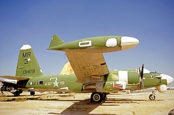 OP-2E Neptune BuNo 131478, formerly of VO-67, in AMARC storage at Davis-Monthan AFB, c. 1971. The camouflage is green for low level operations over Vietnam.