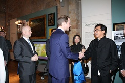 The Duke of Cambridge with actor Jackie Chan at the London Conference on The Illegal Wildlife Trade at the Natural History Museum, 12 February 2014.