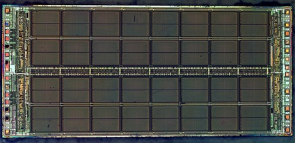 A die photograph of the Micron Technology MT4C1024 DRAM integrated circuit. It has a capacity of 1 megabit equivalent of  2 20 {\displaystyle 2^{20}} bits or 128 kB. [1]