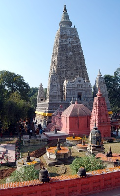 Mahabodhi Temple in India, a common site of pilgrimage.