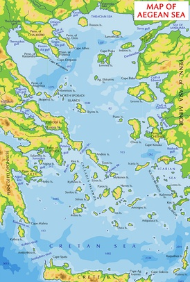 Map of the Aegean Sea. Thracian Sea is shown in its top.