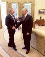 Representative Pence meeting with President George W. Bush in 2007