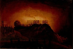 A depiction of the castle on fire in 1831