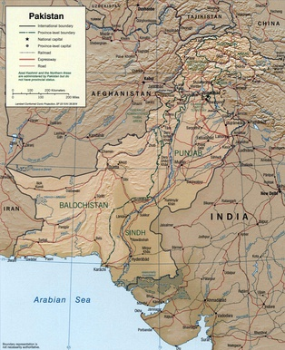 International and provincial boundaries of Pakistan