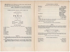 Playbill for Archibald MacLeish's Panic (March 14–15, 1935), Welles's first starring role on the U.S. stage