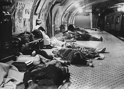 People seek refuge in the metro during the unsuccessful Francoist bombings (1936-1937) over Republican Madrid, Spanish Civil War.