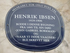 Plaque to Ibsen, Oslo marking his home from 1895-1906