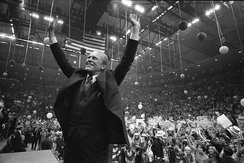Ford campaigns at the Nassau County Veterans Coliseum in Hempstead, New York on October 31, 1976 during the final days of the campaign.