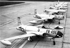 71st Fighter Squadron Lockheed P-80s at March AFB, CA, c. 1948.