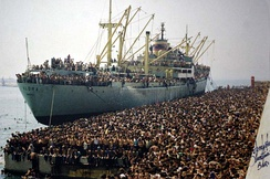 The Vlora ship in Bari carrying some 20.000 Albanian migrants after the Breakup of Communist Albania.