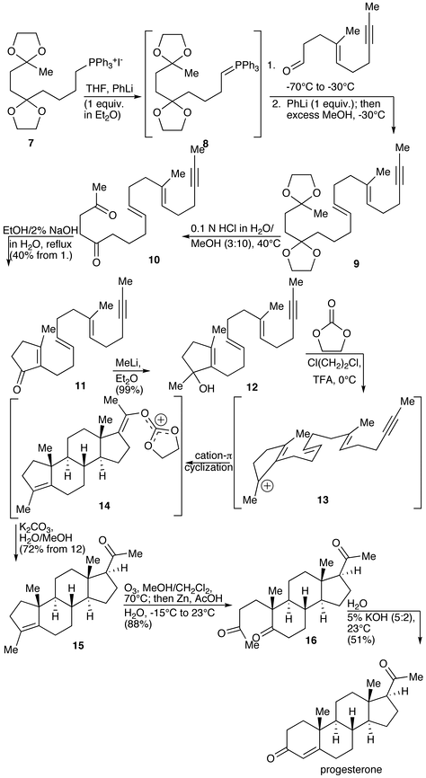 The Johnson total synthesis of progesterone.[121]