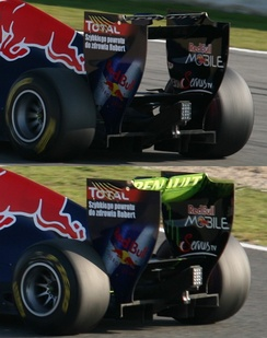 Red Bull RB7 rear wing showing function of Drag reduction system