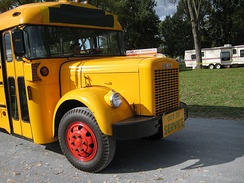 Restored 1950s Reo school bus with an Oneida body