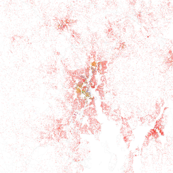 Map of racial distribution in Providence, 2010 U.S. Census. Each dot is 25 people: White, Black, Asian, Hispanic or Other (yellow)