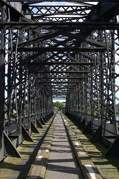 Nineteenth-century railway bridge over the River Spey, closed in 1965 and now part of the Moray Coast trail