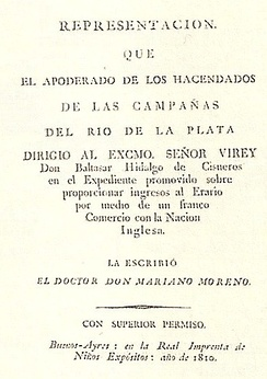 The Representation of the Landowners, economic paper written by Mariano Moreno