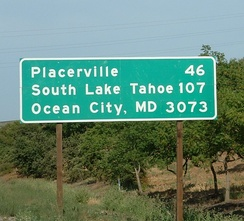 This sign at the west end indicates the distances to Placerville, South Lake Tahoe, and the east end of the route in Ocean City, Maryland