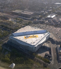 Aerial view of SAP Center from a landing at San Jose International Airport (SJC).
