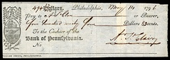 Check signed by Arthur St. Clair while governor of the Northwest Territory (1796)