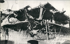 Bomb damage to Shōkaku's bow and forward flight deck