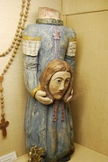 Sculpture of the beheaded Sainte Solange, patron saint of the French province of Berry
