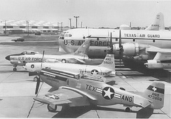 Airshow display (1964) of four Generations of 136th Airplanes. Shown, KC-97L Stratotanker; North American F-86D-60-NA Sabre, AF Ser. No. 53-1030 (F-86L) now on display at NAS JRB Fort Worth, TX; Lockheed F-80B-1-LO Shooting Star, AF Ser. No. 45-8607; North American F-51D-25-NA Mustang, AF Ser. No. 44-73856, sold to private owner