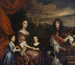 Anne (centre) and her sister Mary (left) with their parents, the Duke and Duchess of York, painted by Peter Lely and Benedetto Gennari II