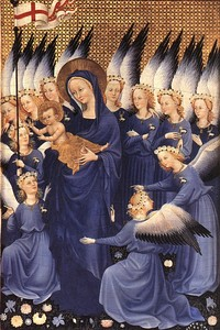 The Wilton Diptych (c. 1395–1399), tempera on wood, each section 57 cm × 29.2 cm (22.44 in × 11.50 in). National Gallery, London