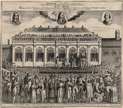 Contemporary German print of Charles I's beheading outside the Banqueting House, Whitehall