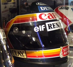 Boutsen's helmet on display at the Williams team's museum