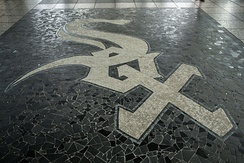 Chicago White Sox logo in the station floor
