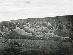 Photograph (1871–2) of a Toda green funeral.