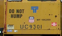 "Not all cars can be sent over a classification hump. This Union Pacific track maintenance vehicle is permanently labelled ""Do not hump"", because it is not designed to withstand hump sorting."
