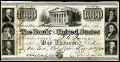 A promissory note issued by the Second Bank of the United States, December 15, 1840, for the amount of $1,000.