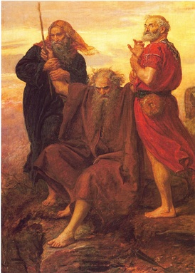 Moses holding up his arms during the battle against Amalek, assisted by Aaron and Hur; 19th-century painting by John Everett Millais