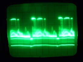 PAL videosignal frames. Left to right: frame with scan lines (overlapping together, horizontal sync pulses show as the doubled straight horizontal lines), vertical blanking interval with vertical sync (shows as brightness increase of the bottom part of the signal in almost the leftmost part of the vertical blanking interval), entire frame, another VBI with VSYNC, beginning of third frame