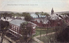 View from the tower of Phillips Church in 1911, showing Alumni Hall (1903, now Mayer Art Center), and third Academy Building (1872–1914)