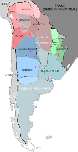Internal divisions of the Viceroyalty of the Río de la Plata in 1783.