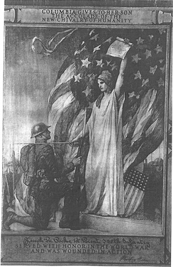 Lady Columbia recognized World War I Doughboy soldier as having suffered injury due to his willingness to serve humanity