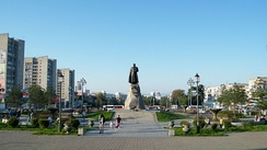 Monument to Yerofey Khabarov in Khabarovsk.