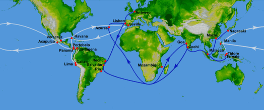 Spanish galleon routes (white): West Indies or trans-atlantic route begun in 1492, Manila galleon or trans-pacific route begun in 1565. (Blue: Portuguese routes, operational from 1498 to 1640)