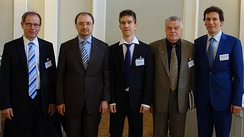 First defence of PhD degree in Russia (19 June 2013): doctoral candidate, supervisors, and rector of the university