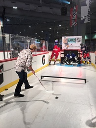An NHL fan exhibit, where guests attempt to deflect the puck in order to score