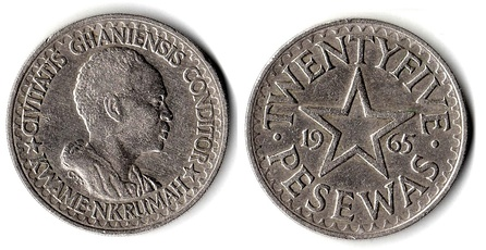 "25 pesewas (Ȼ0.25) coins depicting Nkrumah: ""Civitatis Ghanensis Conditor"" (""Founder of the Ghanaian State"")"