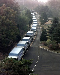 South Korean aid convoy entering North Korea through the Demilitarized Zone, 1998